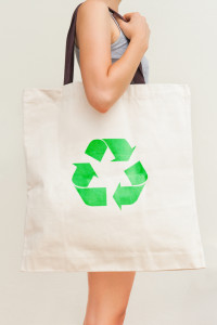 shopping woman recycling bag